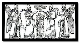 Asszír istenek, kerubok, életfa